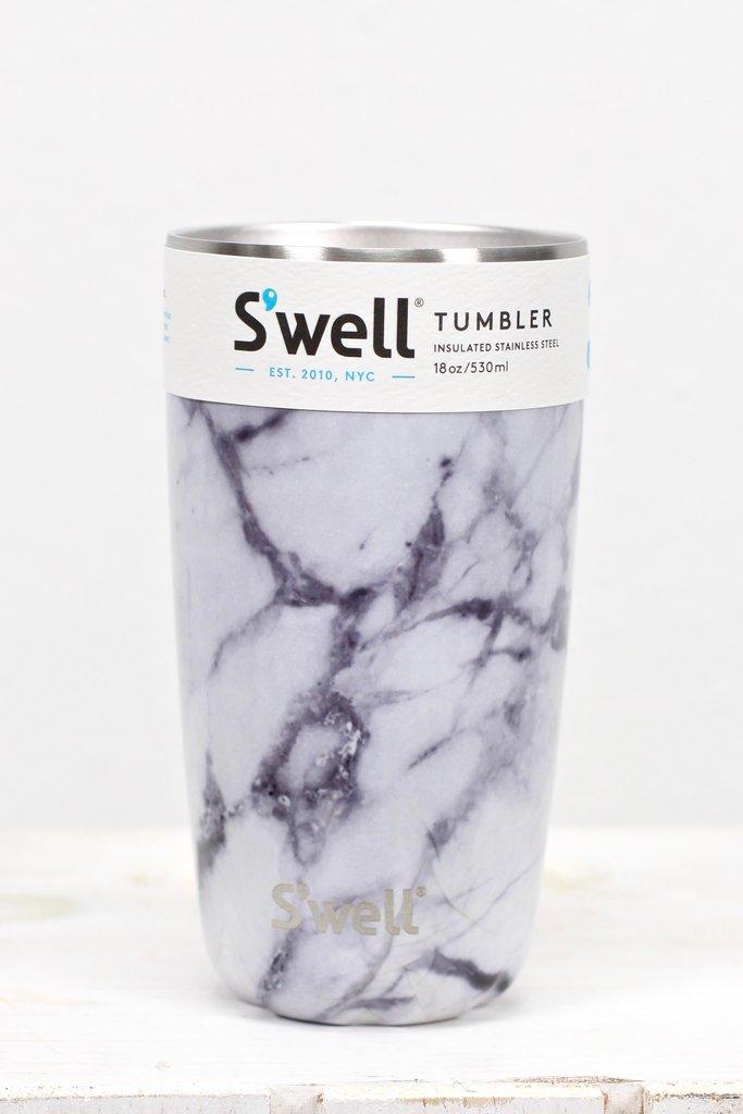 Swell 18oz Tumbler In White Marble Peppercorn